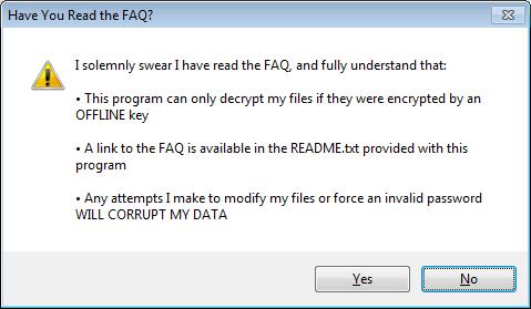 Tampilan Notifikasi FAQ buka program STOPDecrypter
