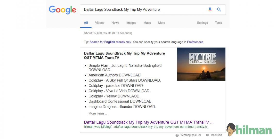 "Postingan ""Daftar Lagu Soundtrack My Trip My Adventure"" dapat Featured Snippets in Search..."